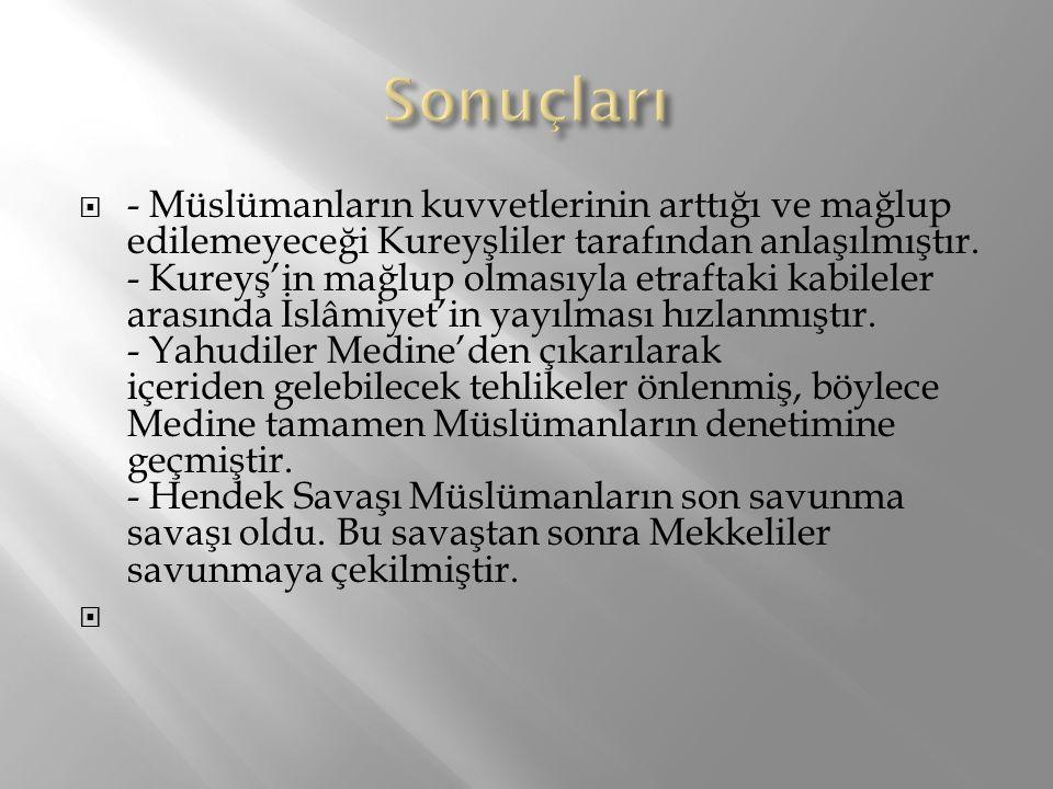  - Müslümanların kuvvetlerinin arttığı ve mağlup edilemeyeceği Kureyşliler tarafından anlaşılmıştır. - Kureyş'in mağlup olmasıyla etraftaki kabileler