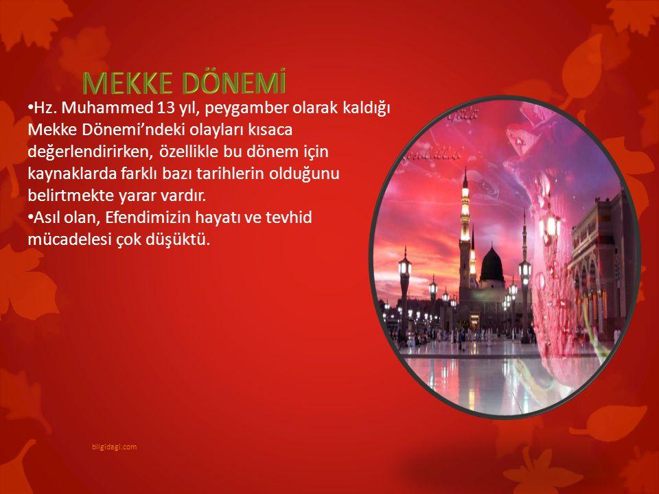 Hz. Muhammed 13 yıl, peygamber olarak kaldığı Mekke Dönemi'ndeki olayları kısaca değerlendirirken, özellikle bu dönem için kaynaklarda farklı bazı tar