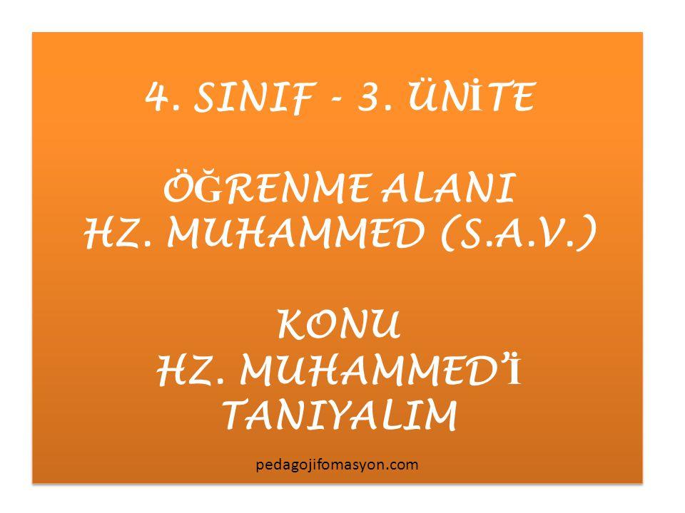 4. SINIF - 3. ÜN İ TE Ö Ğ RENME ALANI HZ. MUHAMMED (S.A.V.) KONU HZ. MUHAMMED' İ TANIYALIM 4. SINIF - 3. ÜN İ TE Ö Ğ RENME ALANI HZ. MUHAMMED (S.A.V.)