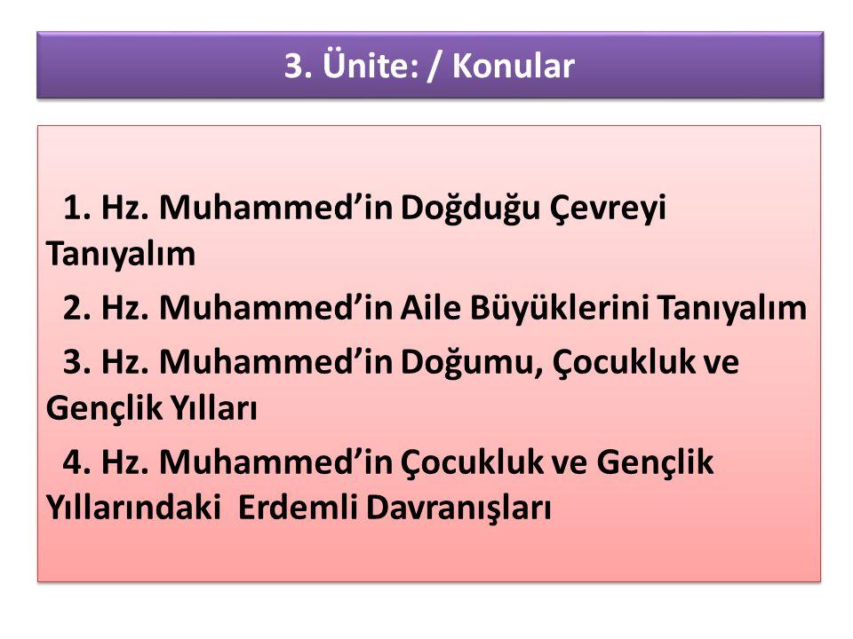 3. Ünite: / Konular 1. Hz. Muhammed'in Doğduğu Çevreyi Tanıyalım 2. Hz. Muhammed'in Aile Büyüklerini Tanıyalım 3. Hz. Muhammed'in Doğumu, Çocukluk ve
