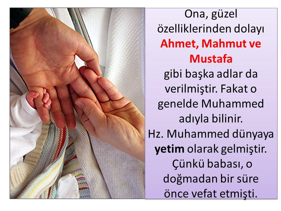 Ona, güzel özelliklerinden dolayı Ahmet, Mahmut ve Mustafa gibi başka adlar da verilmiştir. Fakat o genelde Muhammed adıyla bilinir. Hz. Muhammed düny