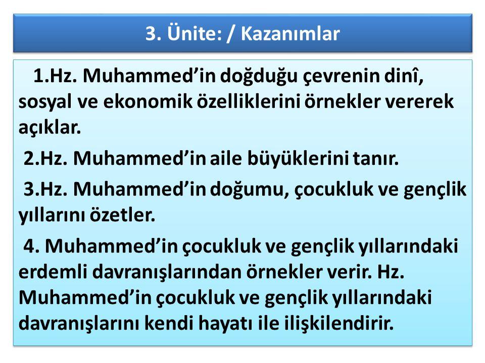 3. Ünite: / Kazanımlar 1.Hz. Muhammed'in doğduğu çevrenin dinî, sosyal ve ekonomik özelliklerini örnekler vererek açıklar. 2.Hz. Muhammed'in aile büyü