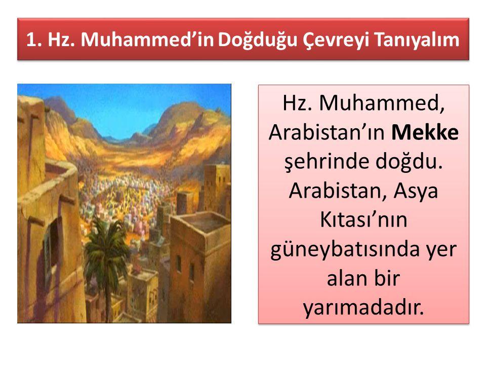 1. Hz. Muhammed'in Doğduğu Çevreyi Tanıyalım Hz. Muhammed, Arabistan'ın Mekke şehrinde doğdu. Arabistan, Asya Kıtası'nın güneybatısında yer alan bir y
