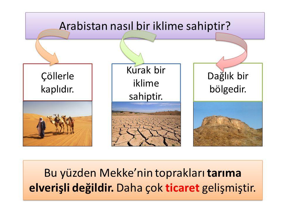 Arabistan nasıl bir iklime sahiptir? Çöllerle kaplıdır. Kurak bir iklime sahiptir. Dağlık bir bölgedir. Bu yüzden Mekke'nin toprakları tarıma elverişl