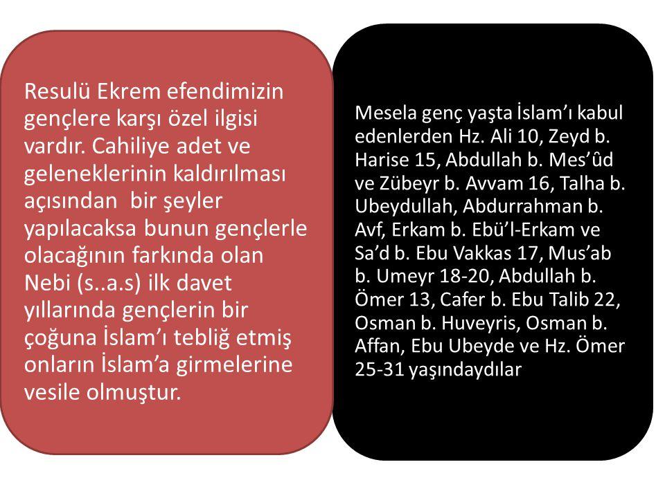 Mesela genç yaşta İslam'ı kabul edenlerden Hz. Ali 10, Zeyd b. Harise 15, Abdullah b. Mes'ȗd ve Zübeyr b. Avvam 16, Talha b. Ubeydullah, Abdurrahman b