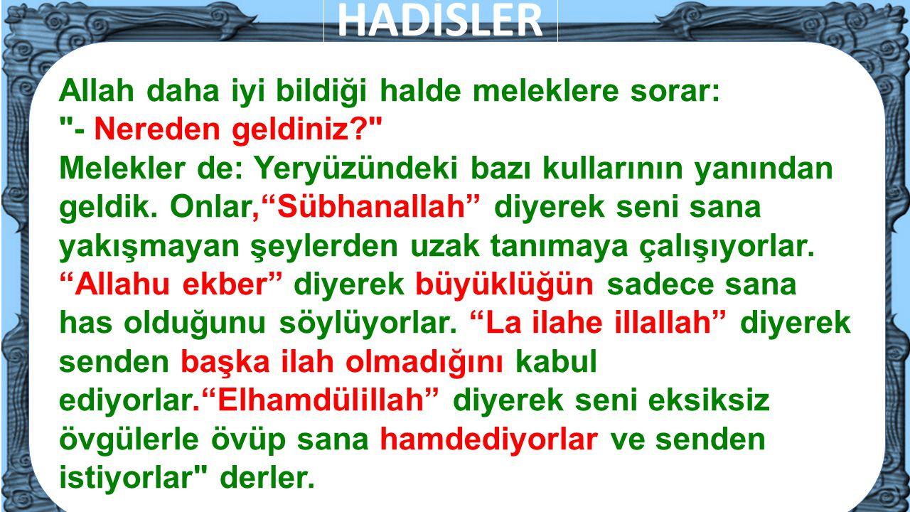 12 Allah daha iyi bildiği halde meleklere sorar: