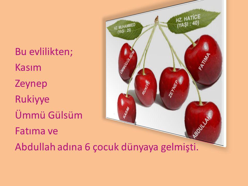 Bu evlilikten; Kasım Zeynep Rukiyye Ümmü Gülsüm Fatıma ve Abdullah adına 6 çocuk dünyaya gelmişti.