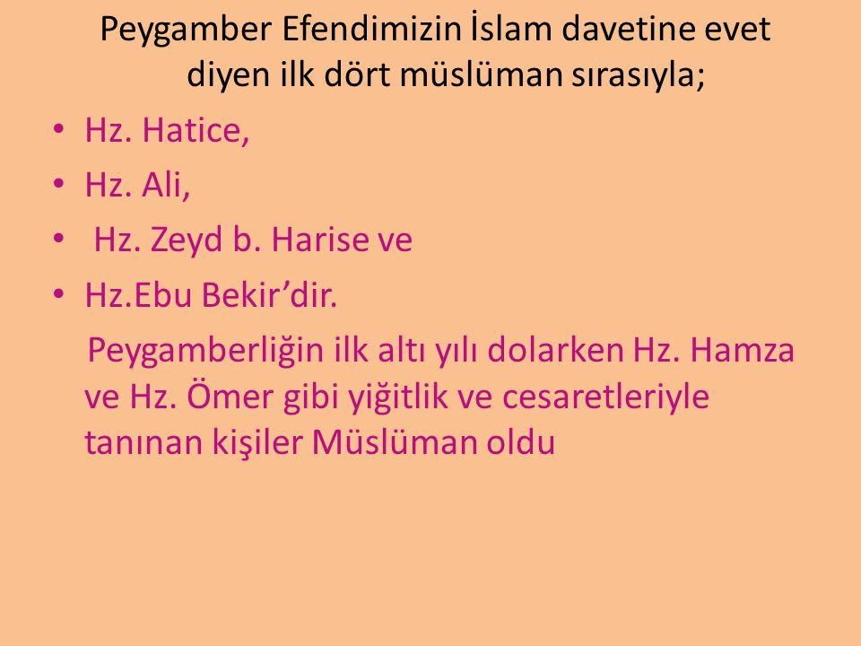 Peygamber Efendimizin İslam davetine evet diyen ilk dört müslüman sırasıyla; Hz. Hatice, Hz. Ali, Hz. Zeyd b. Harise ve Hz.Ebu Bekir'dir. Peygamberliğ