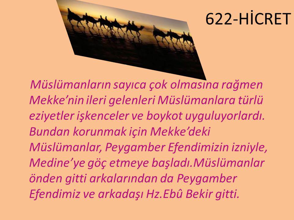 622-HİCRET Müslümanların sayıca çok olmasına rağmen Mekke'nin ileri gelenleri Müslümanlara türlü eziyetler işkenceler ve boykot uyguluyorlardı. Bundan