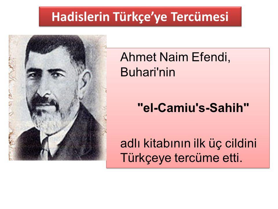 Ahmet Naim Efendi, Buhari'nin