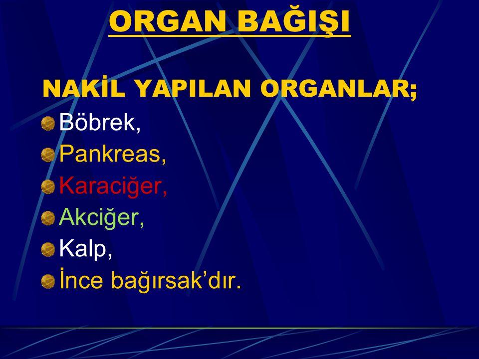 ORGAN BAĞIŞI NAKİL YAPILAN ORGANLAR; Böbrek, Pankreas, Karaciğer, Akciğer, Kalp, İnce bağırsak'dır.