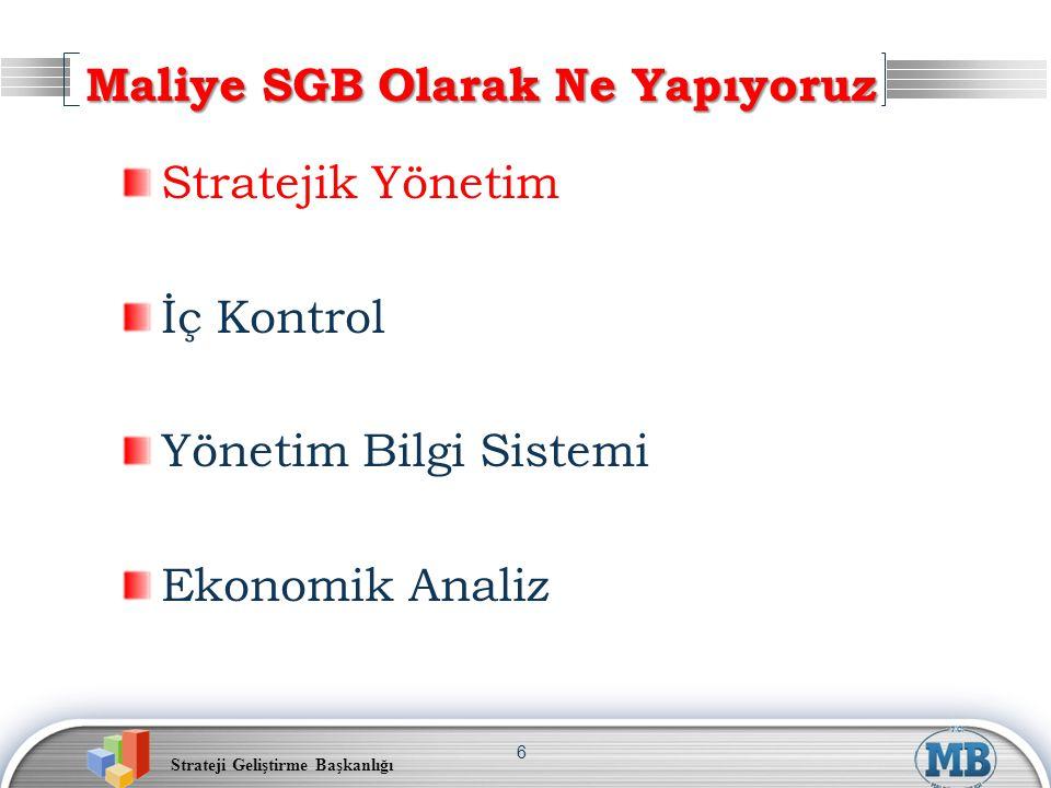 Strateji Geliştirme Başkanlığı 7 Stratejik Yönetim Mevcut Durum Kaynak Planlaması Analitik Bütçe, Performans Esaslı Bütçe Bütçe Uygulamaları Performans Yönetimi Kurum Performansı, Birim Performansı Kişi Performansı Diğer Kurumlara Eğitim, Destek ve Rehberlik Stratejik Planlama, Performans Yönetimi İzleme ve Değerlendirme Performans Hedef/Göstergelerinin İzlenmesi Bütçe Gerçekleşmelerinin İzlenmesi Harcama Süreçlerinin İzlenmesi Periyodik ve yılsonu raporlaması
