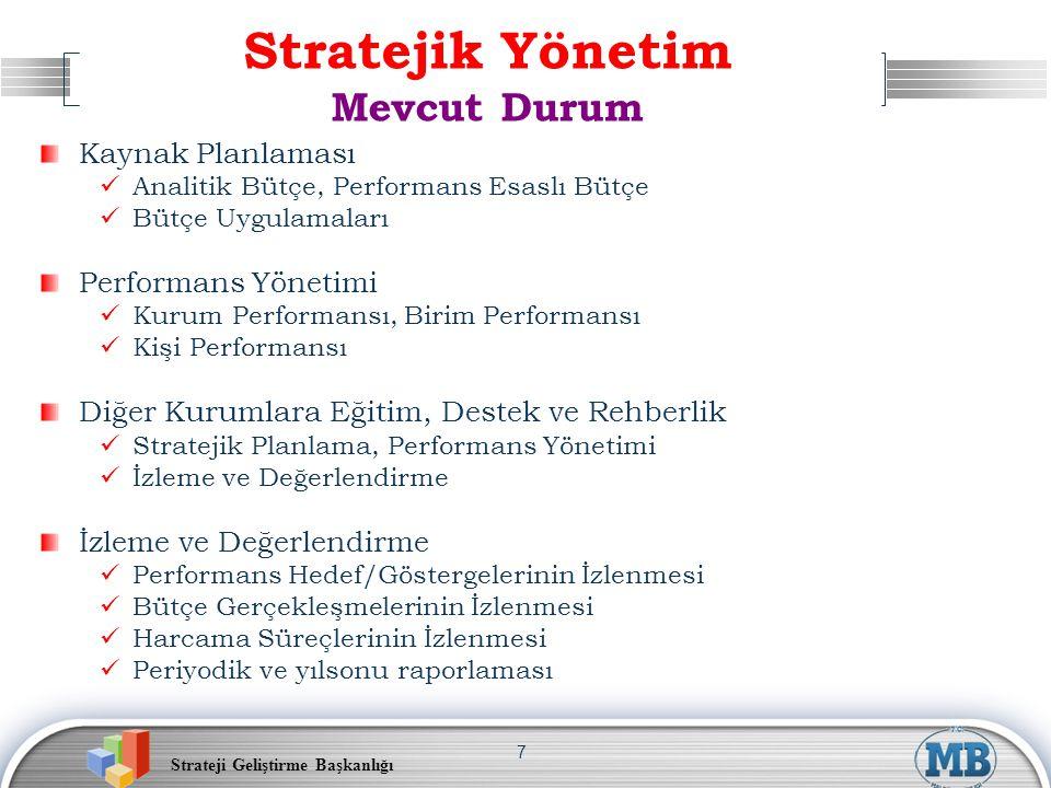 Strateji Geliştirme Başkanlığı 7 Stratejik Yönetim Mevcut Durum Kaynak Planlaması Analitik Bütçe, Performans Esaslı Bütçe Bütçe Uygulamaları Performan