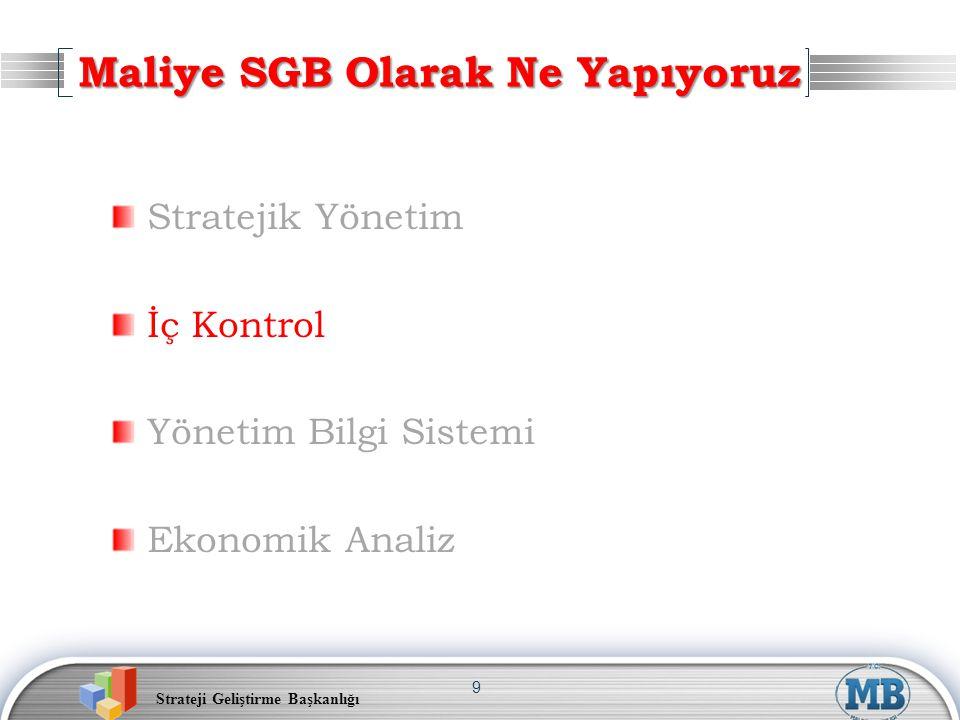 Strateji Geliştirme Başkanlığı 9 Stratejik Yönetim İç Kontrol Yönetim Bilgi Sistemi Ekonomik Analiz Maliye SGB Olarak Ne Yapıyoruz