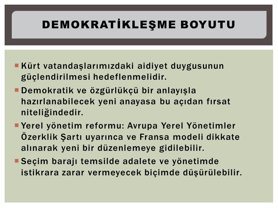  Kürt vatandaşlarımızdaki aidiyet duygusunun güçlendirilmesi hedeflenmelidir.