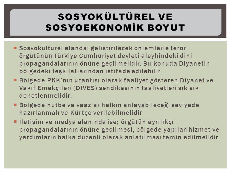  Sosyokültürel alanda; geliştirilecek önlemlerle terör örgütünün Türkiye Cumhuriyet devleti aleyhindeki dini propagandalarının önüne geçilmelidir.