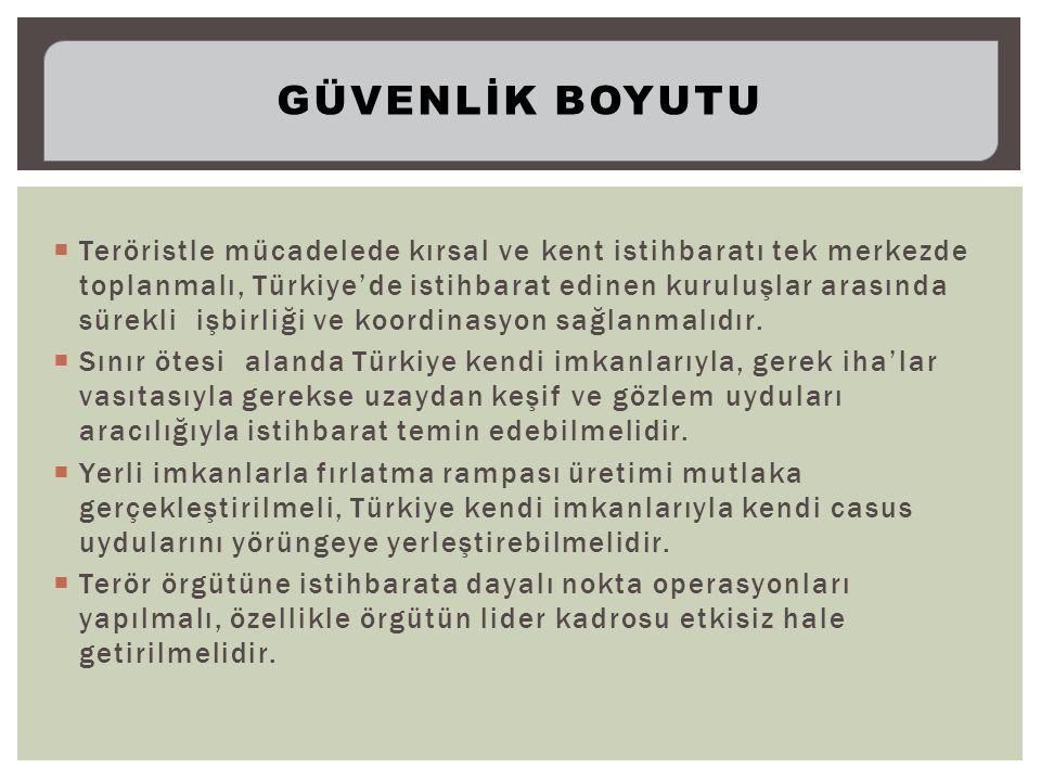  Teröristle mücadelede kırsal ve kent istihbaratı tek merkezde toplanmalı, Türkiye'de istihbarat edinen kuruluşlar arasında sürekli işbirliği ve koordinasyon sağlanmalıdır.