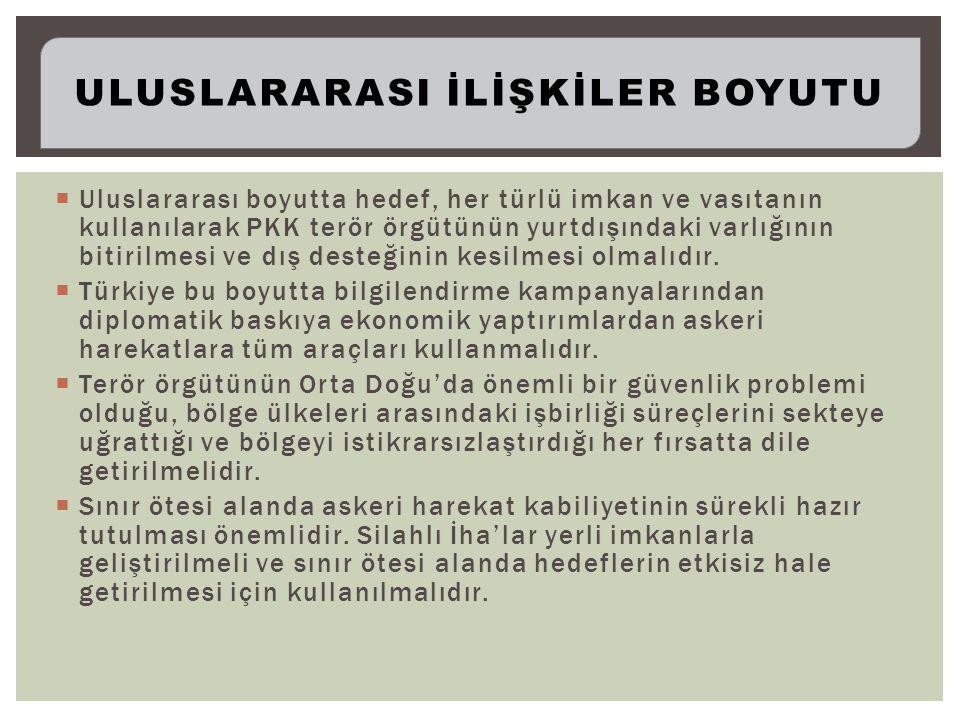  Uluslararası boyutta hedef, her türlü imkan ve vasıtanın kullanılarak PKK terör örgütünün yurtdışındaki varlığının bitirilmesi ve dış desteğinin kesilmesi olmalıdır.