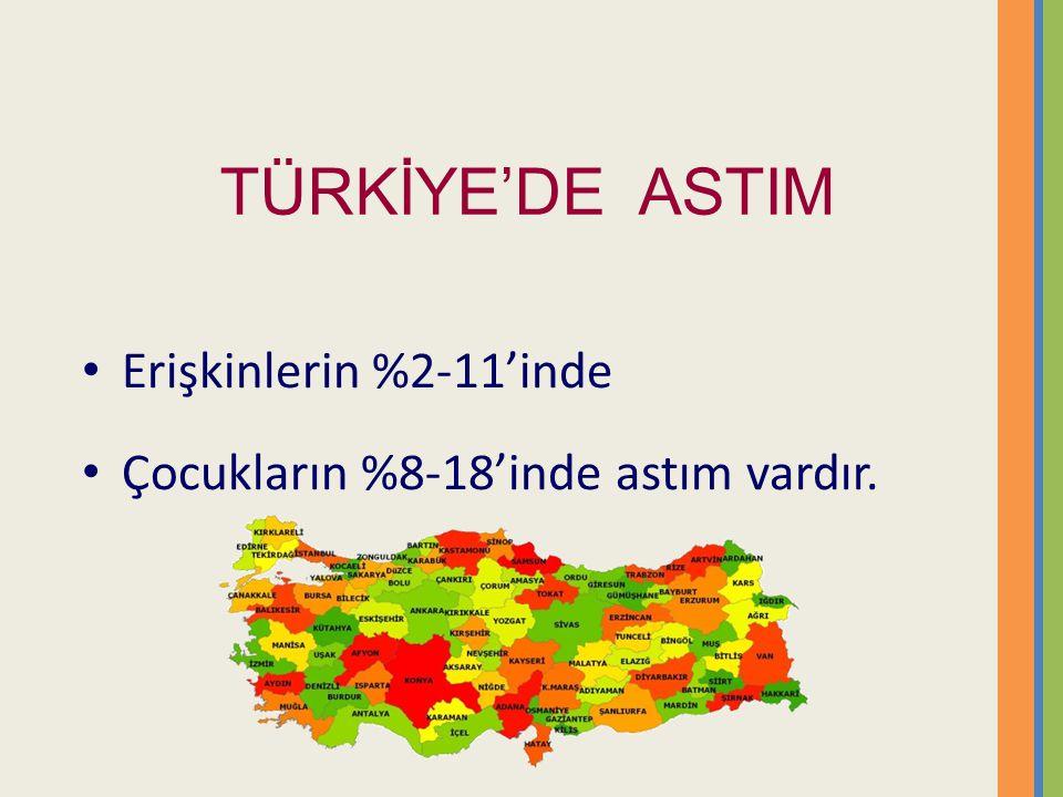 TÜRKİYE'DE ASTIM Erişkinlerin %2-11'inde Çocukların %8-18'inde astım vardır.