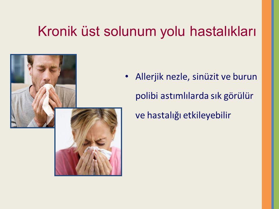 Kronik üst solunum yolu hastalıkları Allerjik nezle, sinüzit ve burun polibi astımlılarda sık görülür ve hastalığı etkileyebilir