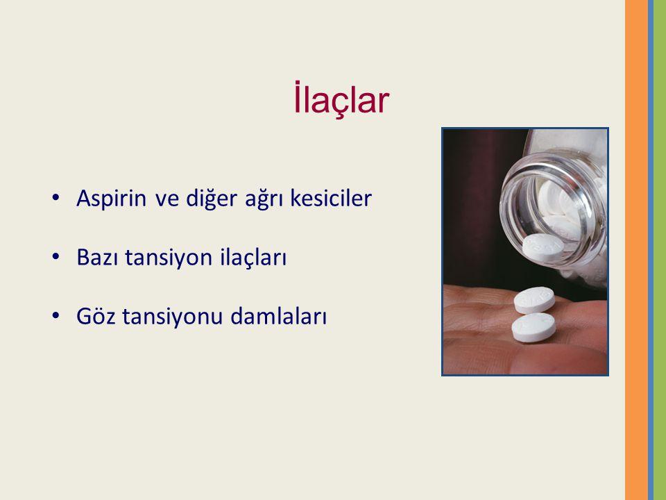 İlaçlar Aspirin ve diğer ağrı kesiciler Bazı tansiyon ilaçları Göz tansiyonu damlaları