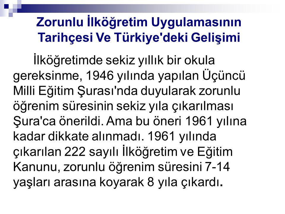 Zorunlu İlköğretim Uygulamasının Tarihçesi Ve Türkiye deki Gelişimi İlköğretimde sekiz yıllık bir okula gereksinme, 1946 yılında yapılan Üçüncü Milli Eğitim Şurası nda duyularak zorunlu öğrenim süresinin sekiz yıla çıkarılması Şura ca önerildi.