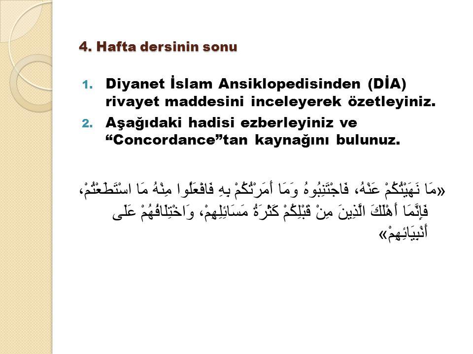 """4. Hafta dersinin sonu 1. Diyanet İslam Ansiklopedisinden (DİA) rivayet maddesini inceleyerek özetleyiniz. 2. Aşağıdaki hadisi ezberleyiniz ve """"Concor"""