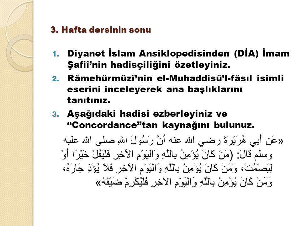 3. Hafta dersinin sonu 1. Diyanet İslam Ansiklopedisinden (DİA) İmam Şafiî'nin hadisçiliğini özetleyiniz. 2. Râmehürmüzî'nin el-Muhaddisü'l-fâsıl isim