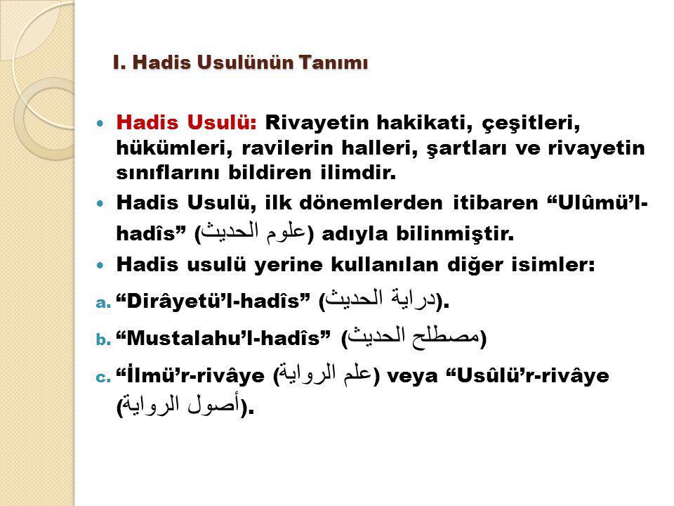 II.Hadis Usulünün Kaynakları A. Üçüncü Asır: Ali b.