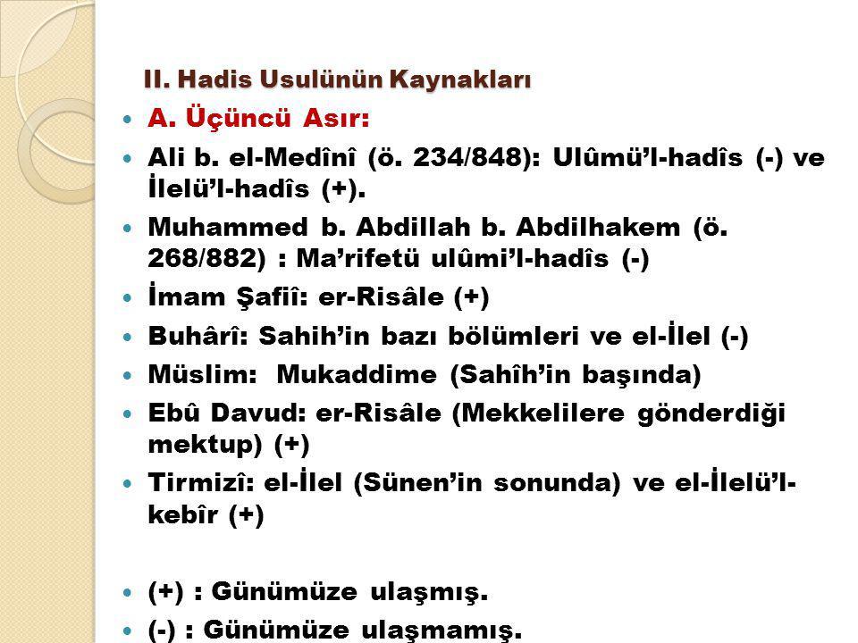 II. Hadis Usulünün Kaynakları A. Üçüncü Asır: Ali b. el-Medînî (ö. 234/848): Ulûmü'l-hadîs (-) ve İlelü'l-hadîs (+). Muhammed b. Abdillah b. Abdilhake
