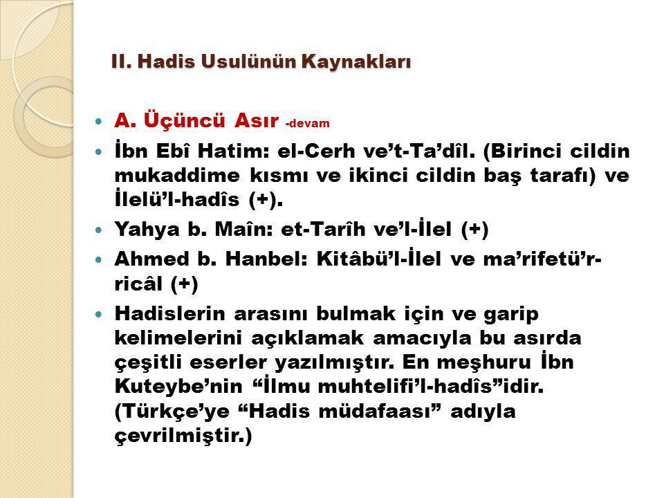 II.Hadis Usulünün Kaynakları A. Üçüncü Asır -devam İbn Ebî Hatim: el-Cerh ve't-Ta'dîl.