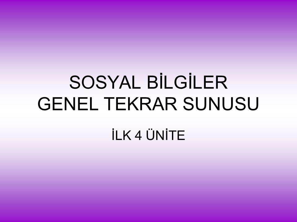 SOSYAL BİLGİLER GENEL TEKRAR SUNUSU İLK 4 ÜNİTE