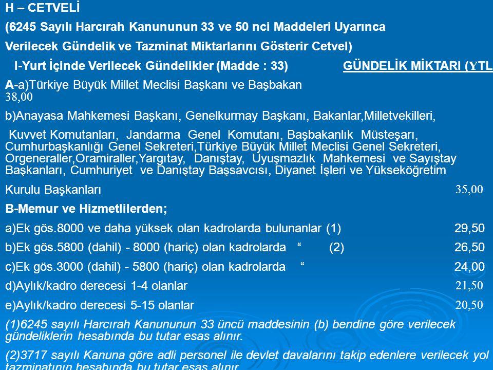 H – CETVELİ (6245 Sayılı Harcırah Kanununun 33 ve 50 nci Maddeleri Uyarınca Verilecek Gündelik ve Tazminat Miktarlarını Gösterir Cetvel) I-Yurt İçinde Verilecek Gündelikler (Madde : 33) GÜNDELİK MİKTARI ( Y TL.) A-a)Türkiye Büyük Millet Meclisi Başkanı ve Başbakan 38,00 b)Anayasa Mahkemesi Başkanı, Genelkurmay Başkanı, Bakanlar,Milletvekilleri, Kuvvet Komutanları, Jandarma Genel Komutanı, Başbakanlık Müsteşarı, Cumhurbaşkanlığı Genel Sekreteri,Türkiye Büyük Millet Meclisi Genel Sekreteri, Orgeneraller,Oramiraller,Yargıtay, Danıştay, Uyuşmazlık Mahkemesi ve Sayıştay Başkanları, Cumhuriyet ve Danıştay Başsavcısı, Diyanet İşleri ve Yükseköğretim Kurulu Başkanları 35,00 B-Memur ve Hizmetlilerden; a)Ek gös.8000 ve daha yüksek olan kadrolarda bulunanlar (1) 29,50 b)Ek gös.5800 (dahil) - 8000 (hariç) olan kadrolarda (2) 26,50 c)Ek gös.3000 (dahil) - 5800 (hariç) olan kadrolarda 24,00 d)Aylık/kadro derecesi 1-4 olanlar 21,50 e)Aylık/kadro derecesi 5-15 olanlar 20,50 (1)6245 sayılı Harcırah Kanununun 33 üncü maddesinin (b) bendine göre verilecek gündeliklerin hesabında bu tutar esas alınır.