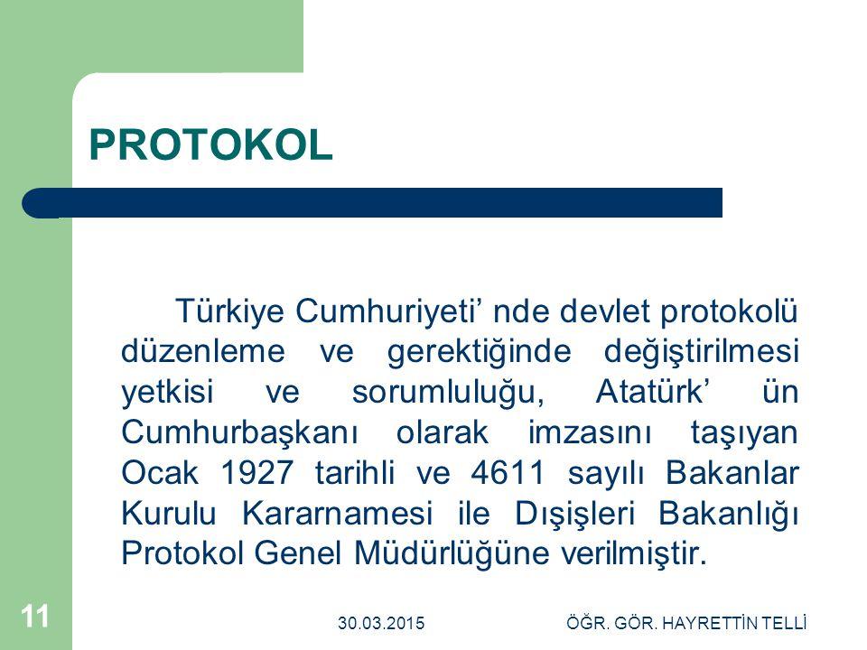 30.03.2015ÖĞR. GÖR. HAYRETTİN TELLİ 11 PROTOKOL Türkiye Cumhuriyeti' nde devlet protokolü düzenleme ve gerektiğinde değiştirilmesi yetkisi ve sorumlul