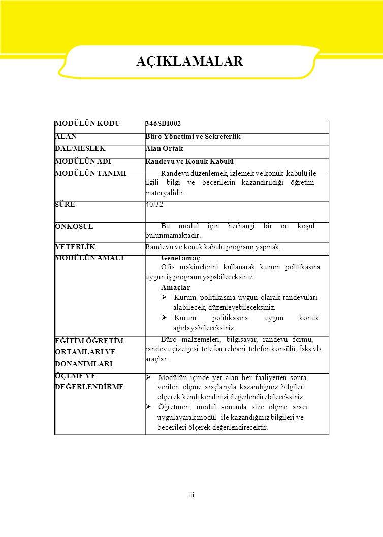 MODÜLÜN KODU346SBI002 ALANBüro Yönetimi ve Sekreterlik DAL/MESLEKAlan Ortak MODÜLÜN ADIRandevu ve Konuk Kabulü MODÜLÜN TANIMI Randevu düzenlemek, izle