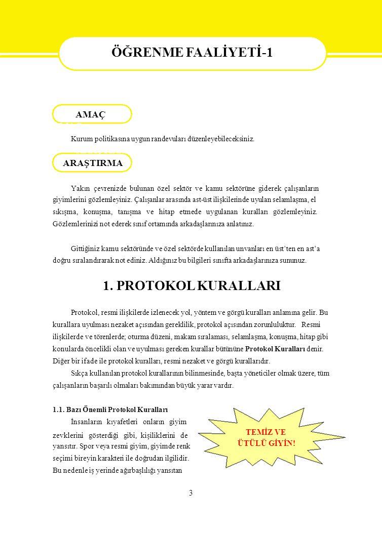 Protokol  ALTINÖZ Mehmet, Hasan TUTAR, Kadir BAYRAKTAR, Bilgisi, Nobel Yayınları, Ankara, 2004  BİLEN Mürüvvet, İnsan İlişkileri, Ecem Yayıncılık, Ankara, 2002  GÜROL G., M.