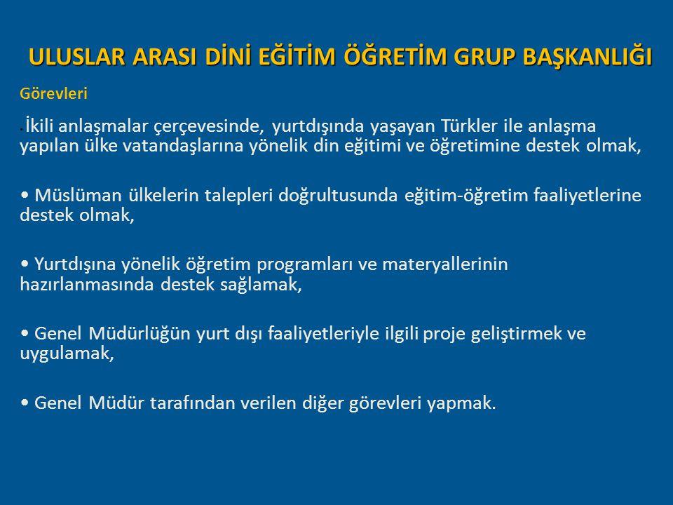ULUSLAR ARASI DİNİ EĞİTİM ÖĞRETİM GRUP BAŞKANLIĞI Görevleri İkili anlaşmalar çerçevesinde, yurtdışında yaşayan Türkler ile anlaşma yapılan ülke vatand