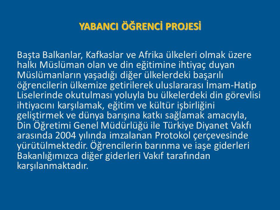 YABANCI ÖĞRENCİ PROJESİ Başta Balkanlar, Kafkaslar ve Afrika ülkeleri olmak üzere halkı Müslüman olan ve din eğitimine ihtiyaç duyan Müslümanların yaş