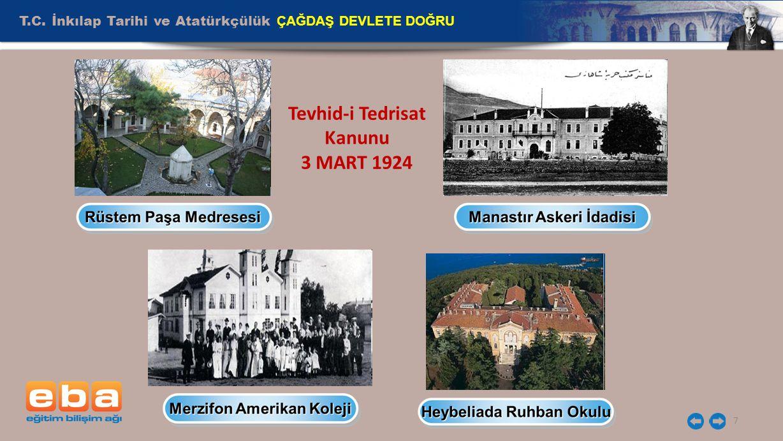 T.C. İnkılap Tarihi ve Atatürkçülük ÇAĞDAŞ DEVLETE DOĞRU 7 Tevhid-i Tedrisat Kanunu 3 MART 1924