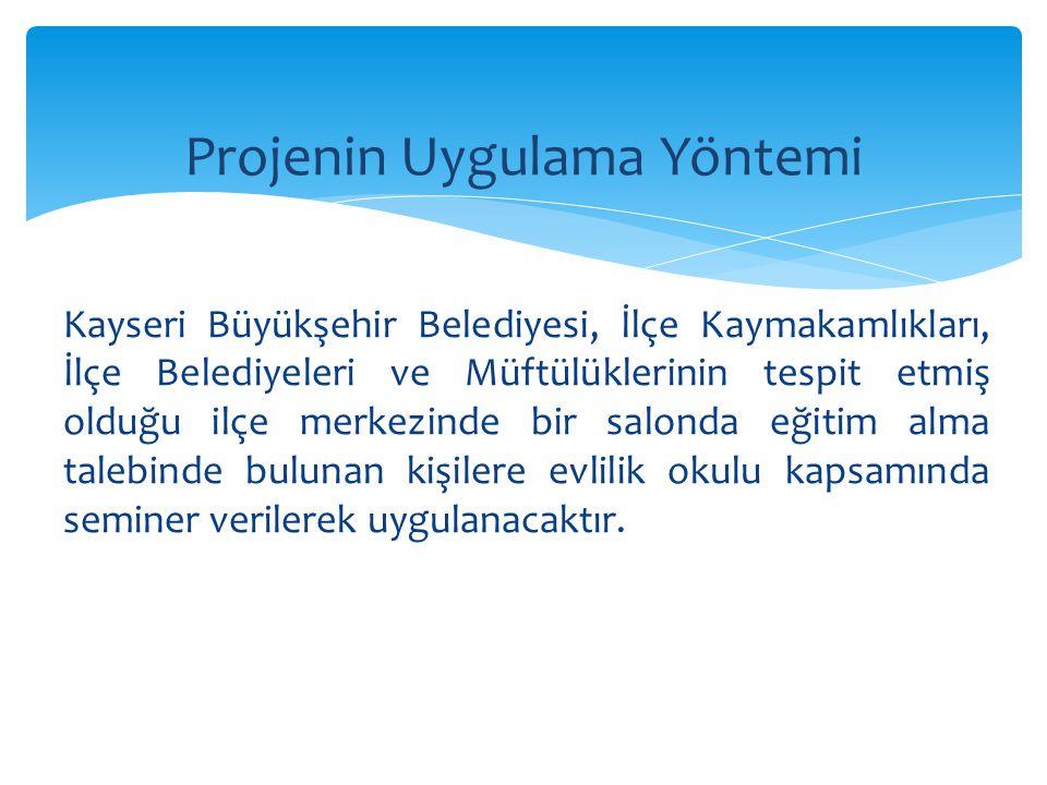 Kayseri Büyükşehir Belediyesi, İlçe Kaymakamlıkları, İlçe Belediyeleri ve Müftülüklerinin tespit etmiş olduğu ilçe merkezinde bir salonda eğitim alma