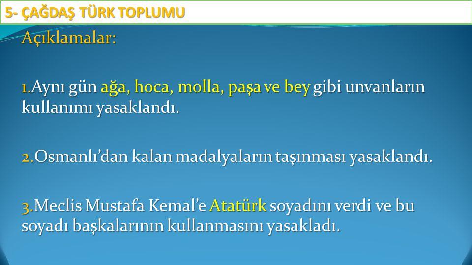 Açıklamalar: 1.Aynı gün ağa, hoca, molla, paşa ve bey gibi unvanların kullanımı yasaklandı. 2.Osmanlı'dan kalan madalyaların taşınması yasaklandı. 3.M