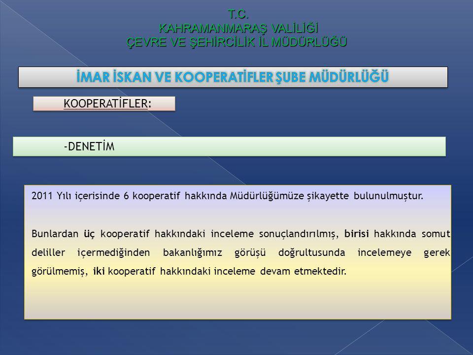 T.C. KAHRAMANMARAŞ VALİLİĞİ ÇEVRE VE ŞEHİRCİLİK İL MÜDÜRLÜĞÜ KOOPERATİFLER: -DENETİM 2011 Yılı içerisinde 6 kooperatif hakkında Müdürlüğümüze şikayett