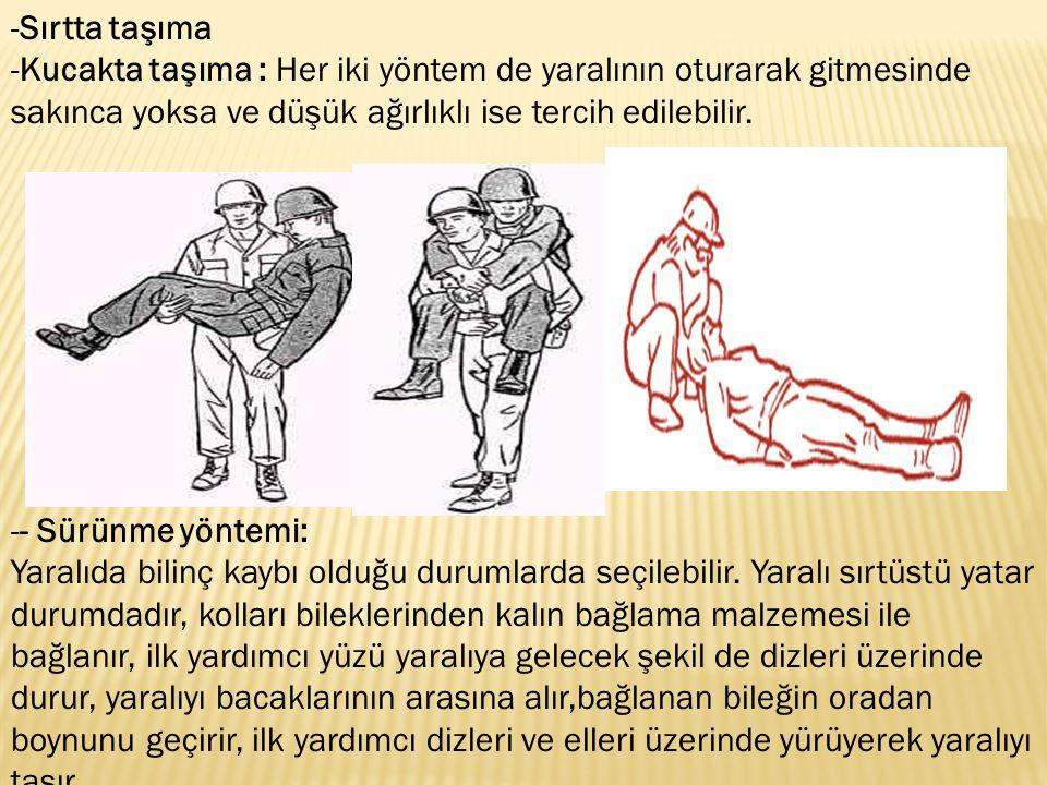 -Sırtta taşıma -Kucakta taşıma : Her iki yöntem de yaralının oturarak gitmesinde sakınca yoksa ve düşük ağırlıklı ise tercih edilebilir. -- Sürünme yö