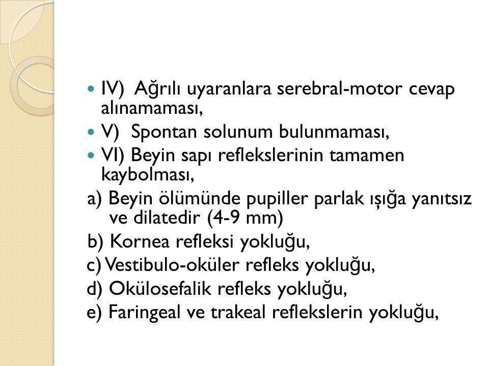 IV) A ğ rılı uyaranlara serebral-motor cevap alınamaması, V) Spontan solunum bulunmaması, VI) Beyin sapı reflekslerinin tamamen kaybolması, a) Beyin ö
