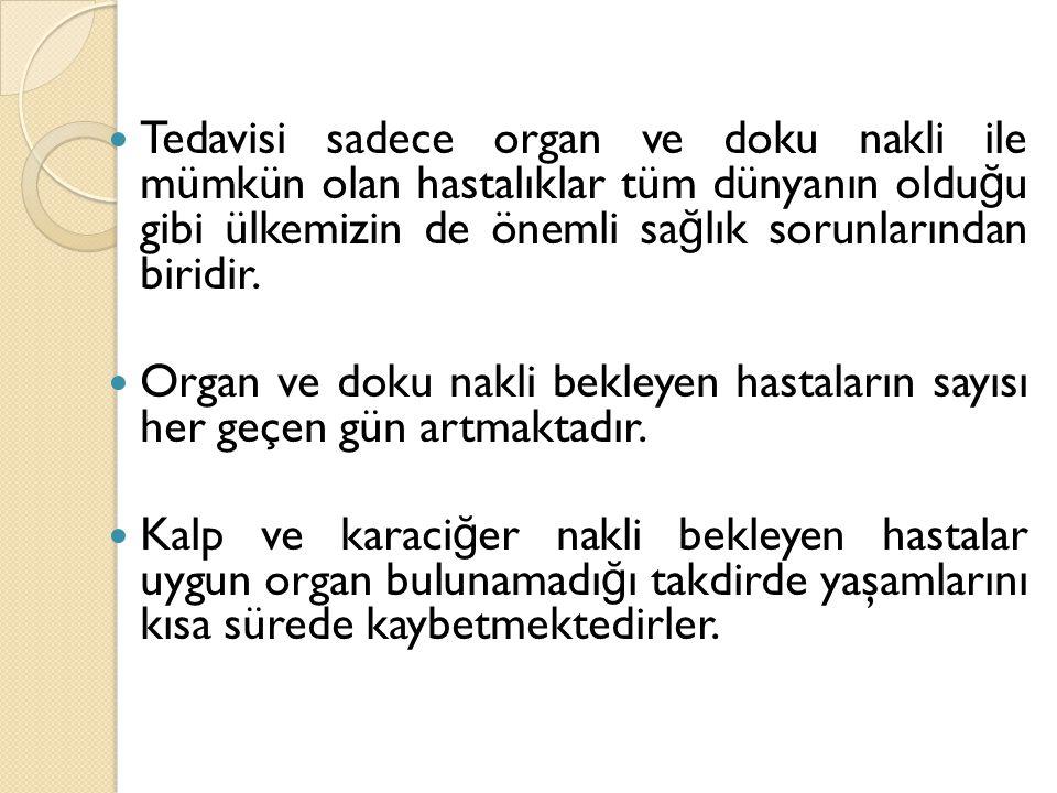 ORGAN BA Ğ IŞI Kişi hayatta iken, serbest iradesi ile tıbben yaşamı sona erdikten sonra doku ve organlarının başka hastaların tedavisi için kullanılmasının izin verilmesine organ ba ğ ışı denir.