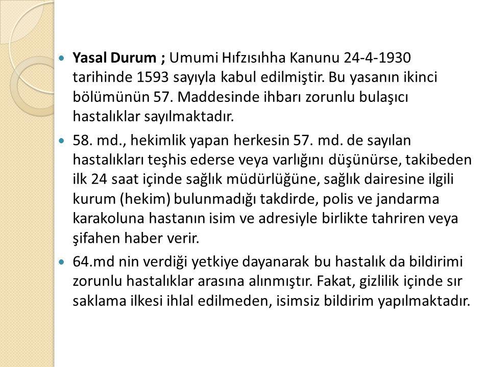 Yasal Durum ; Umumi Hıfzısıhha Kanunu 24-4-1930 tarihinde 1593 sayıyla kabul edilmiştir. Bu yasanın ikinci bölümünün 57. Maddesinde ihbarı zorunlu bul