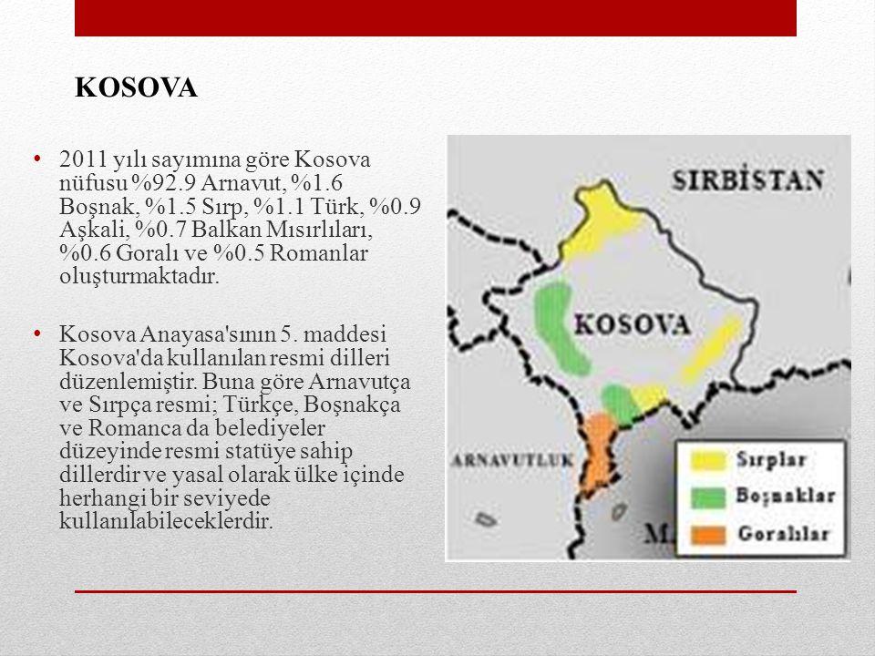 KOSOVA 2011 yılı sayımına göre Kosova nüfusu %92.9 Arnavut, %1.6 Boşnak, %1.5 Sırp, %1.1 Türk, %0.9 Aşkali, %0.7 Balkan Mısırlıları, %0.6 Goralı ve %0