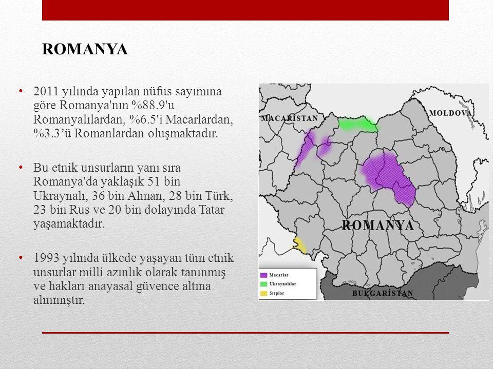 ROMANYA 2011 yılında yapılan nüfus sayımına göre Romanya'nın %88.9'u Romanyalılardan, %6.5'i Macarlardan, %3.3'ü Romanlardan oluşmaktadır. Bu etnik un