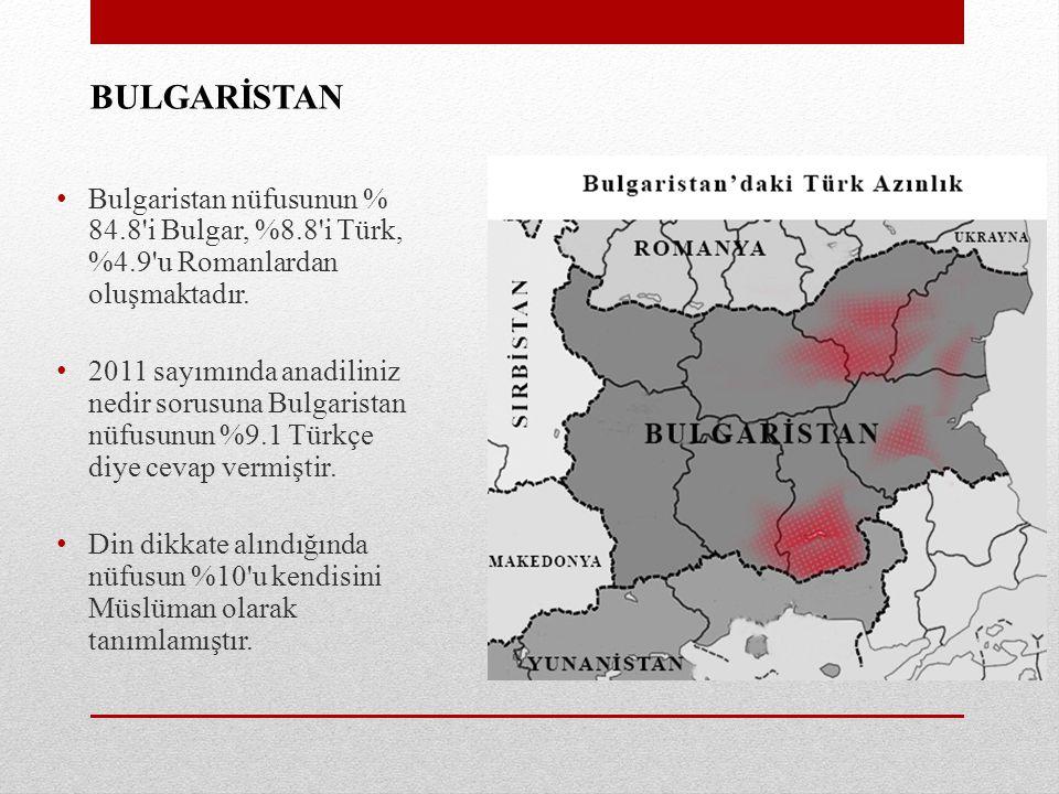 BULGARİSTAN Bulgaristan nüfusunun % 84.8'i Bulgar, %8.8'i Türk, %4.9'u Romanlardan oluşmaktadır. 2011 sayımında anadiliniz nedir sorusuna Bulgaristan