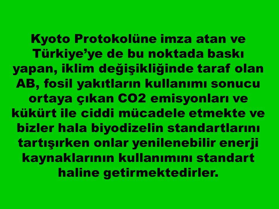 Kyoto Protokolüne imza atan ve Türkiye'ye de bu noktada baskı yapan, iklim değişikliğinde taraf olan AB, fosil yakıtların kullanımı sonucu ortaya çıkan CO2 emisyonları ve kükürt ile ciddi mücadele etmekte ve bizler hala biyodizelin standartlarını tartışırken onlar yenilenebilir enerji kaynaklarının kullanımını standart haline getirmektedirler.